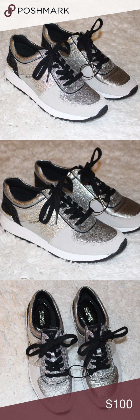 cd065786d965 Billie Chain-Mesh and Leather Michael Kors Shoes Sneakers. Black Silver.  Size 7.5 Brand new