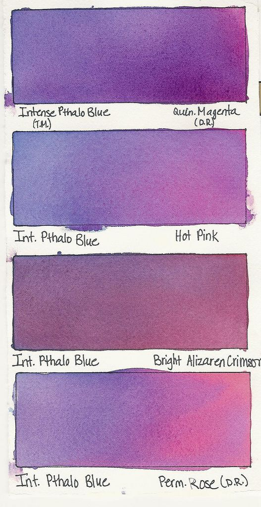 Intense Pthalo Blue A Color Color Mixing Chart Watercolor