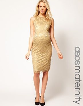 This gilded lace number from Asos ($61.57) surrounds you in flattering shimmer, while the midi length is modest but not matronly. #maternity