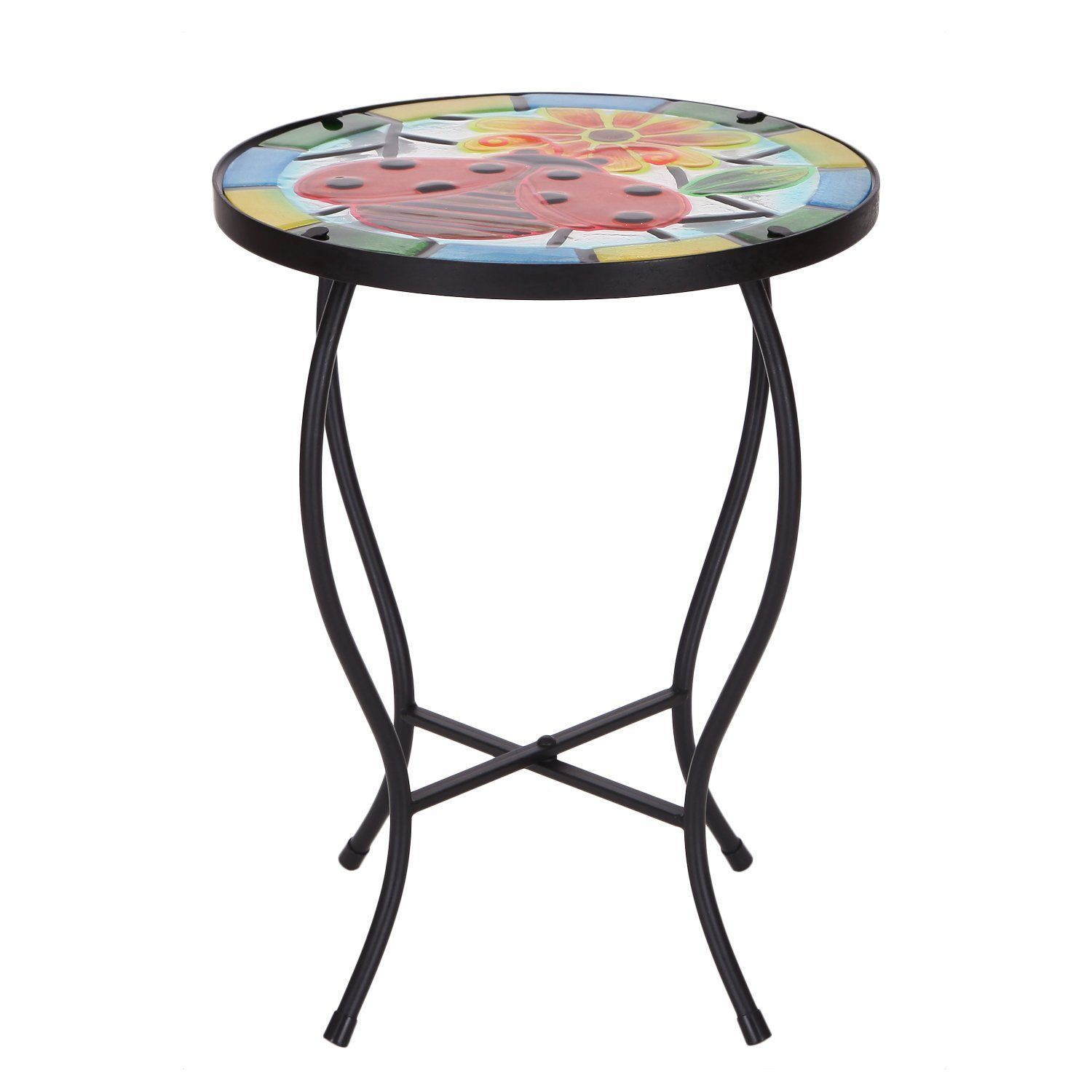 Joveco Round Side Table Plant Stand Flower Holder Accents Serving Snack  Tea, Embossed Artistic Pattern