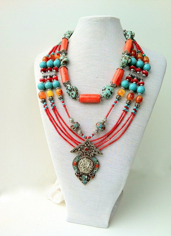 i o nepali ethnic coral vintage for turquoise necklace sale mexican