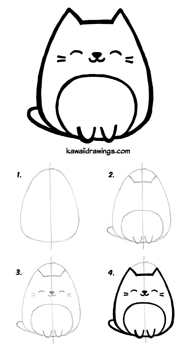 How To Draw Kawaii Cat In 4 Easy Steps Kawaii Drawing Tutorial Step By Step Simple Cat Drawing Cat Drawing Tutorial Cute Easy Drawings
