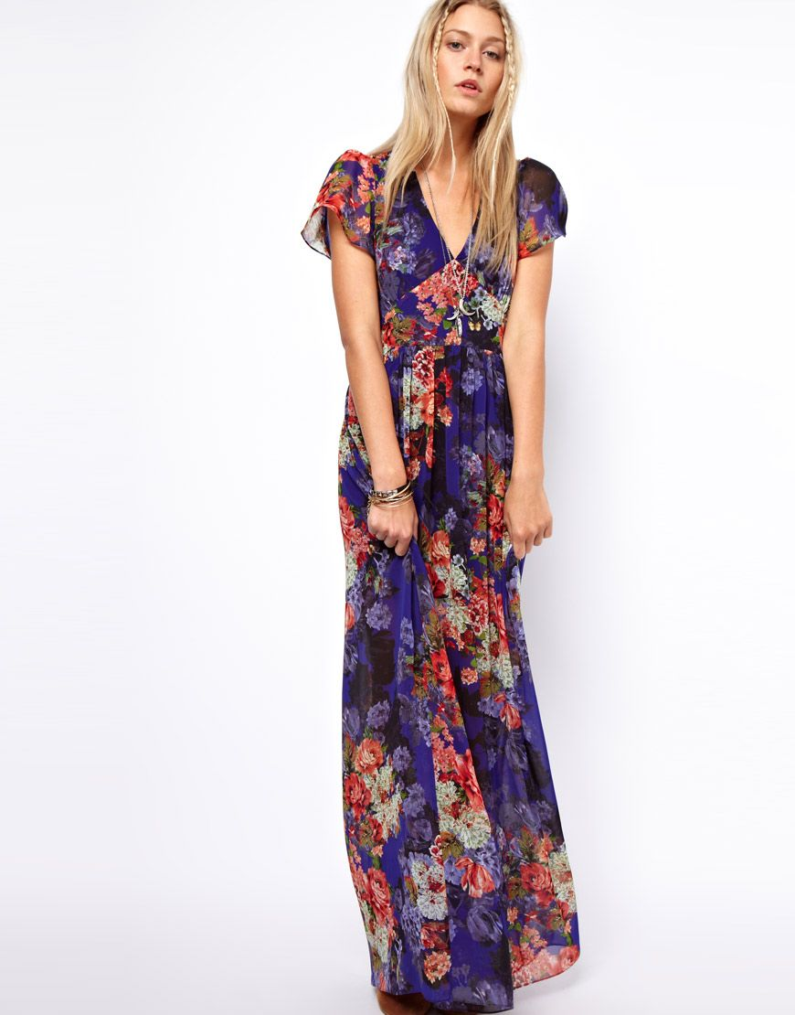 Asos maxi dress in vintage floral print with us sleeve phụ nữ