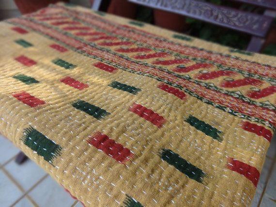 Vintage Kantha Quilt Reversible Kantha by IndianHomeTextile on Etsy, $41.89