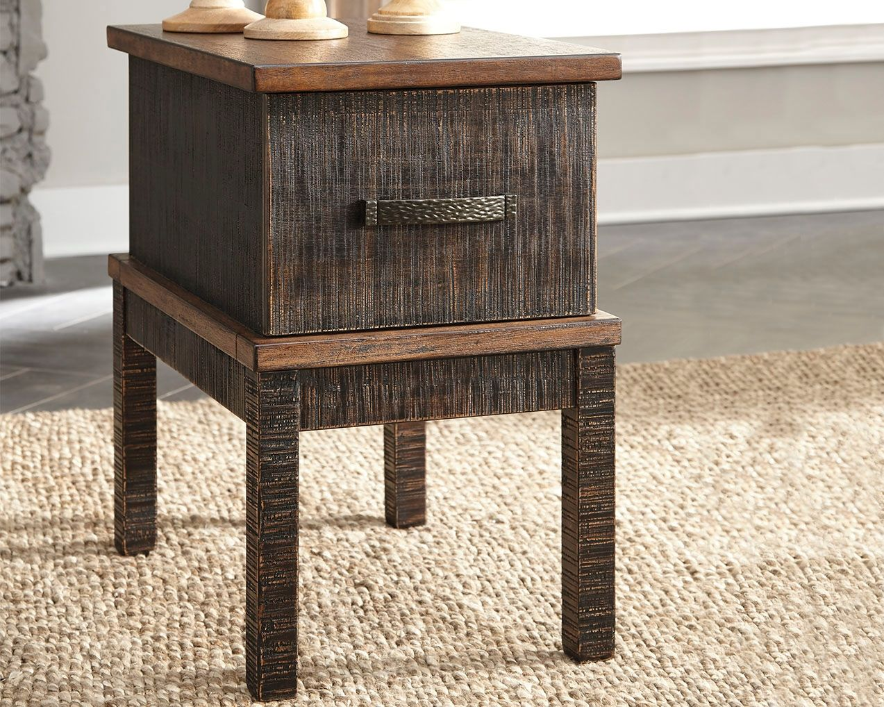 Stanah Chairside End Table With Usb Ports Outlets Two Tone