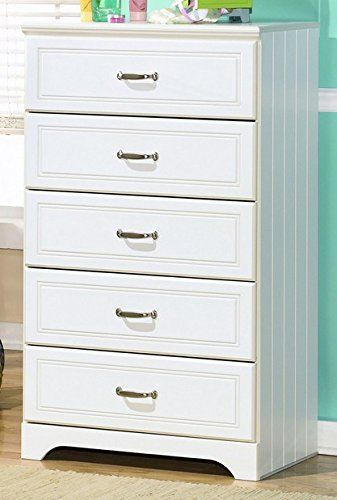 Ashley Furniture Signature Design U2013 Lulu Chest Of Drawers U2013 5 Drawers U2013  Casual Styling With Crisp Finish U2013 White |