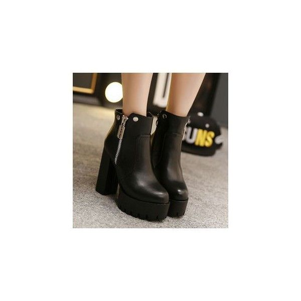Platform Block Heel Zip Ankle Boots (2,425 DOP) ❤ liked on Polyvore featuring shoes, boots, ankle booties, ankle boots, footware, short black boots, black ankle booties, high heel booties and black bootie