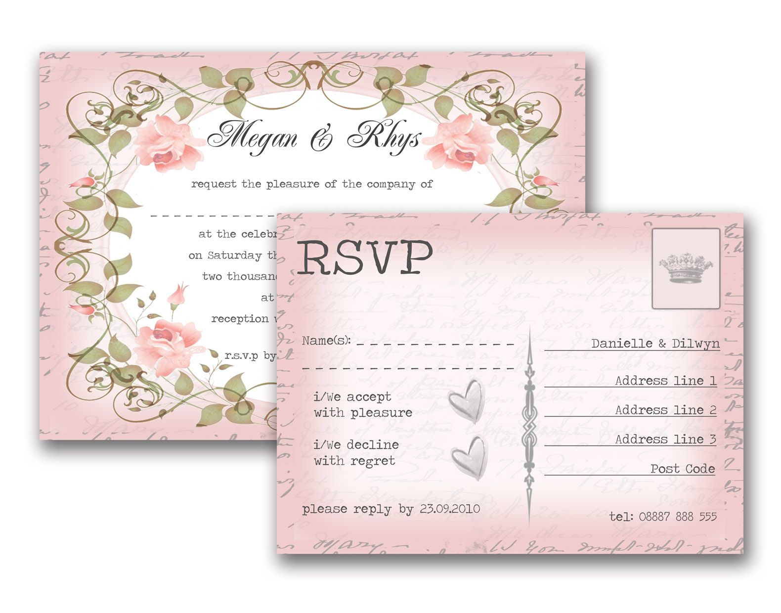 Vintage Fl Wedding Invitation Rsvp