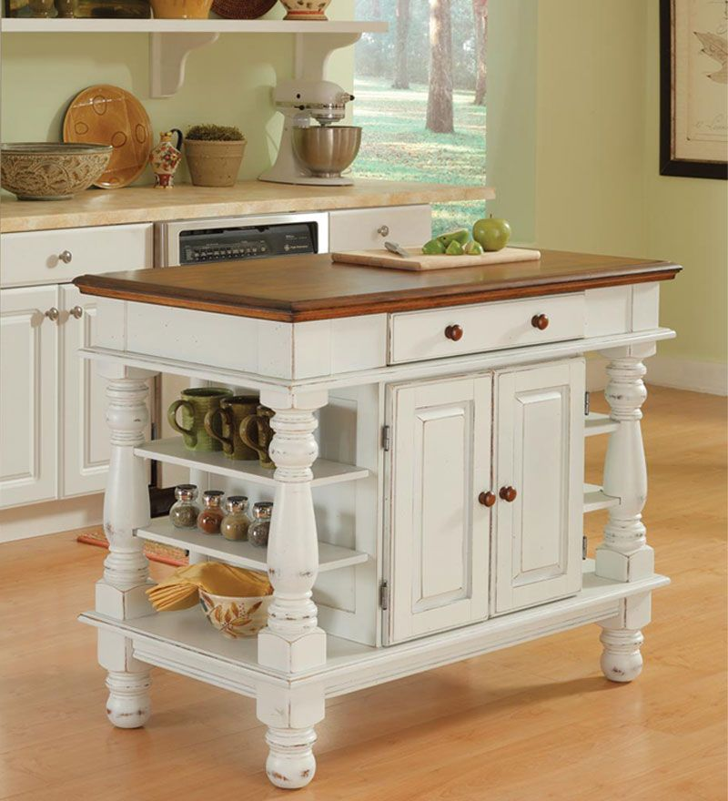Country Style Kitchen Island In Antique White Finish awesome abode