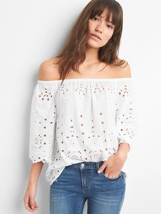 8424edc7d2560a Gap Womens Off-Shoulder Embroidery Cutwork Top White | Shirts ...