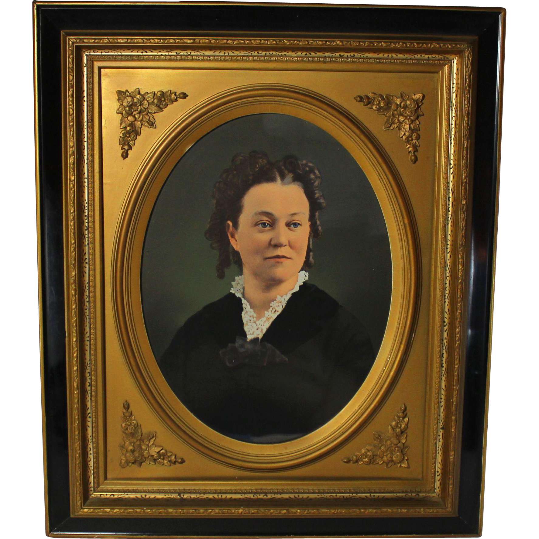 Large 19th century colored photograph of a lady in ebonized greek large 19th century colored photograph of a lady in ebonized greek revival frame jeuxipadfo Gallery