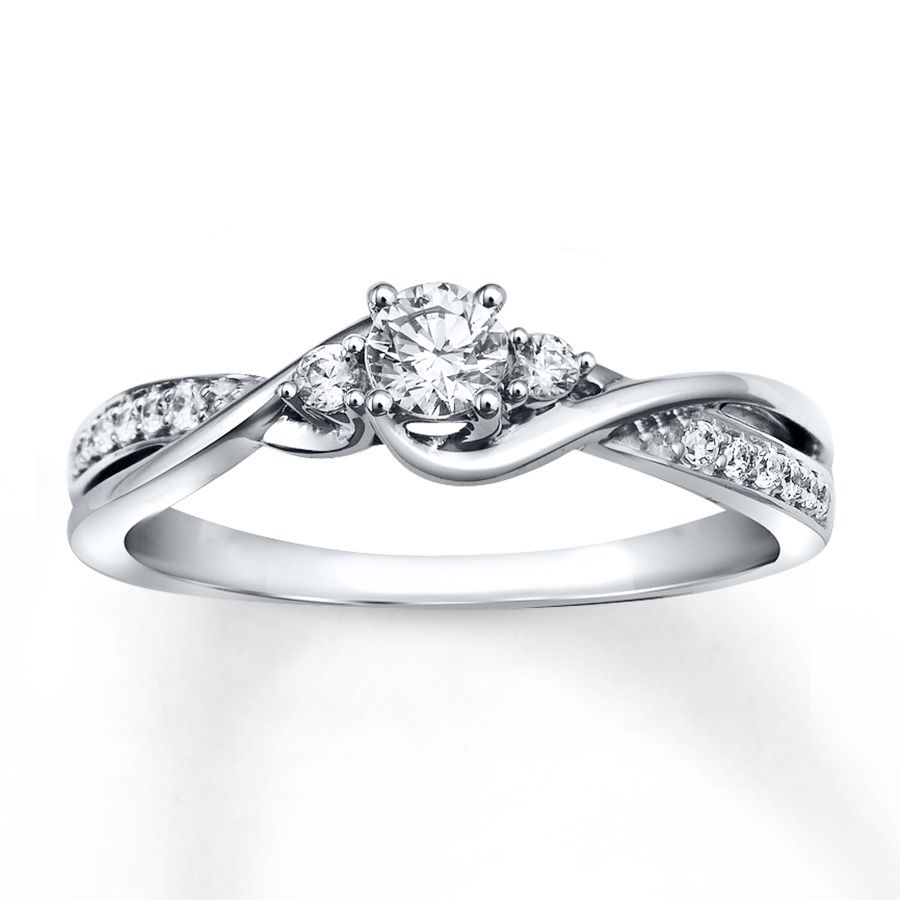 FAVORITE Diamond Engagement Ring 1 3 ct tw Round cut 10K White Gold