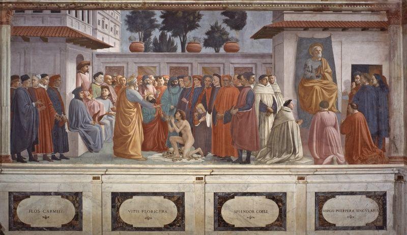 10- Masaccio e Filippino Lippi - Resurrezione del figlio di Teofilo e San Pietro in cattedra - affresco - 1426-1485 circa - Cappella Brancacci (parete sinistra) - Chiesa Santa Maria del Carmine, Firenze