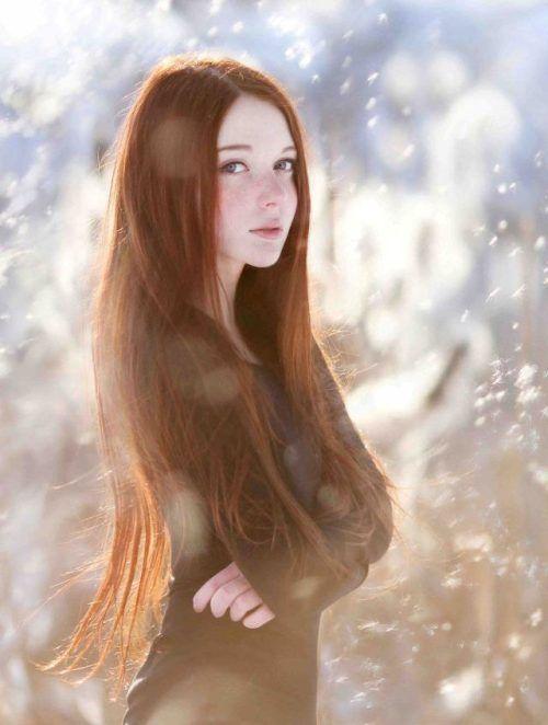 red head snow Frange Blonde, Long Red Hair, Short Hair, Ginger Girls,
