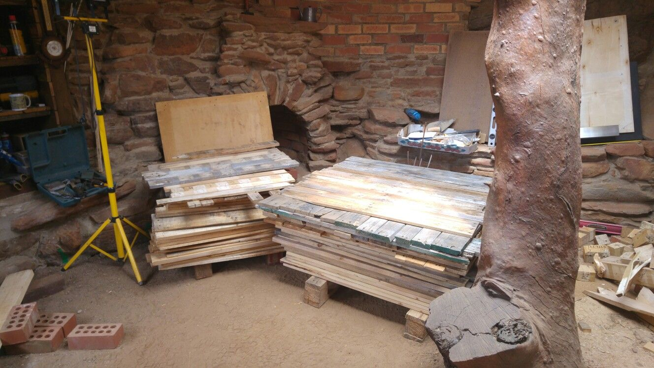 Here's my floor to be laid, made from 25 pallets. Next the ...