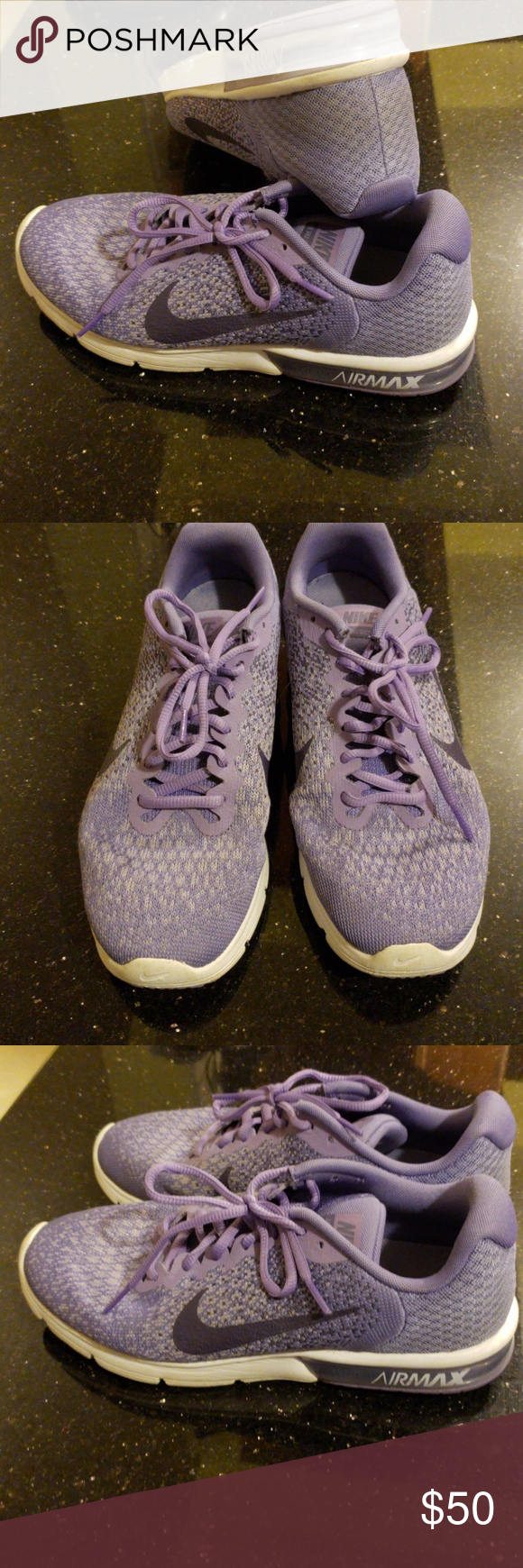 8872bf9df44fa9 BARELY WORN womens nike air max sequent 2 Barely worn womens nike air max  sequent 2 running shoes. Purple sneakers with purple swoosh and purple  laces.