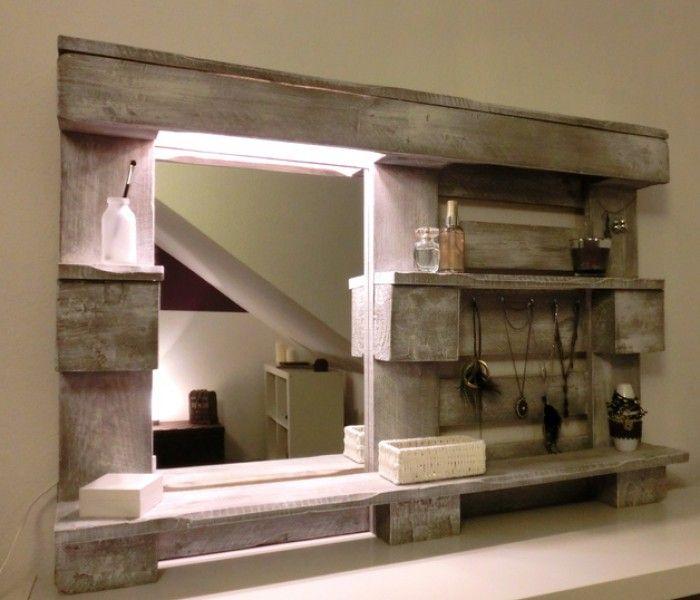 diy spiegel f r das badezimmer aus einer palette gebaut wohnideen pinterest m bel palette. Black Bedroom Furniture Sets. Home Design Ideas