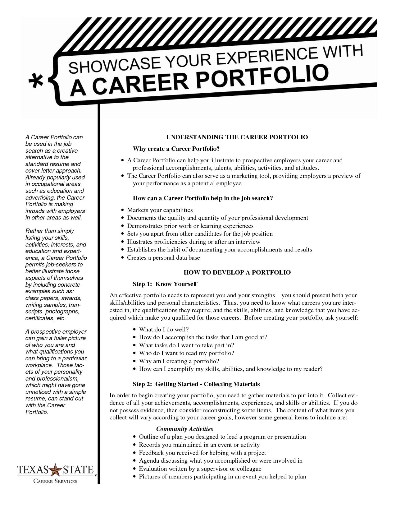 sample of portfolio outline | Career Portfolio Handout | Job ...