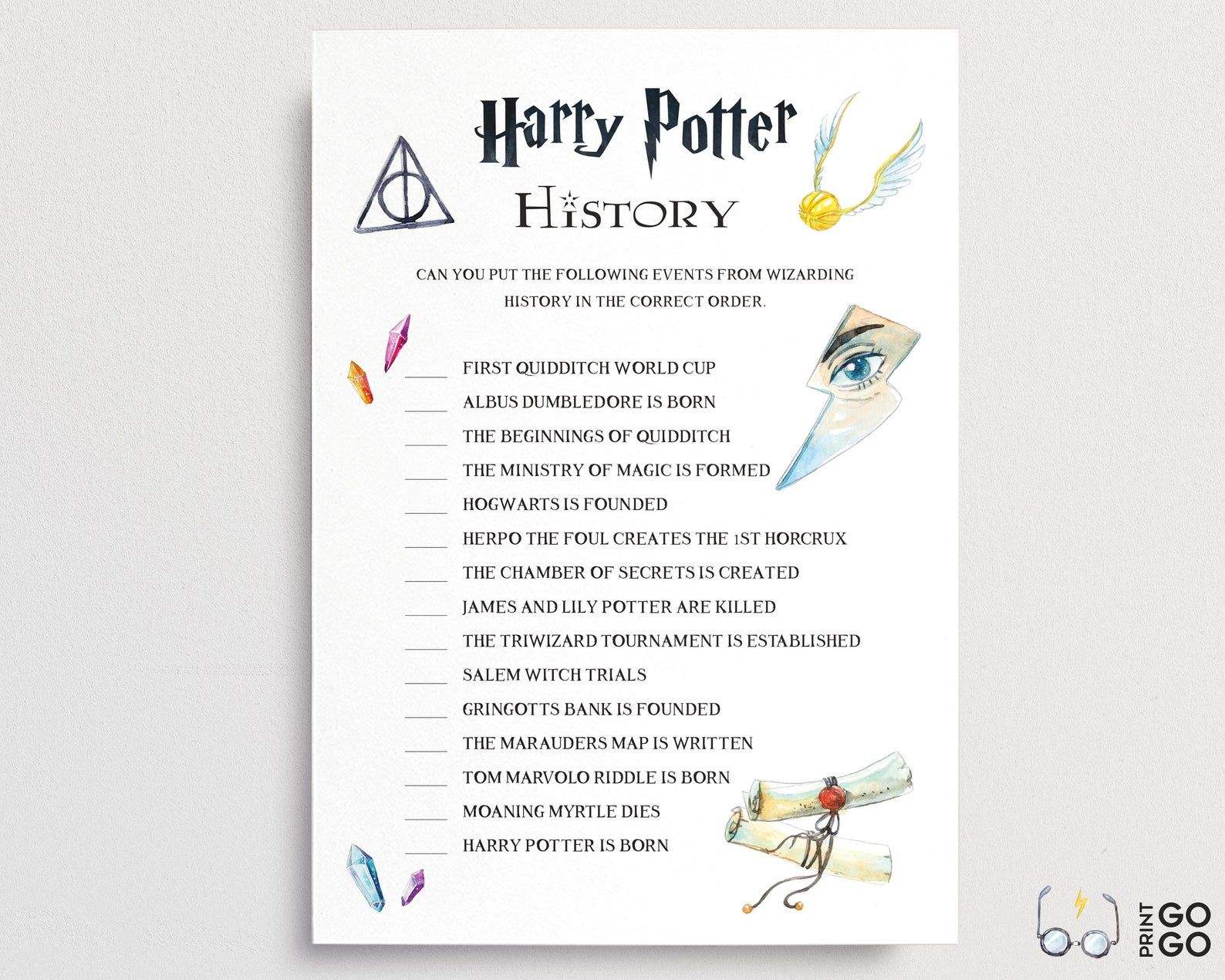Harry Potter History Quiz Printable Game