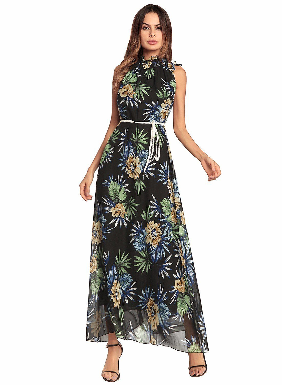 36e6742b69b Maternity Outfits - baggy maternity dresses   Ruiyige Womens Halter Neck  Floral Print Backless Beach Party Maxi Dress     Want additional details