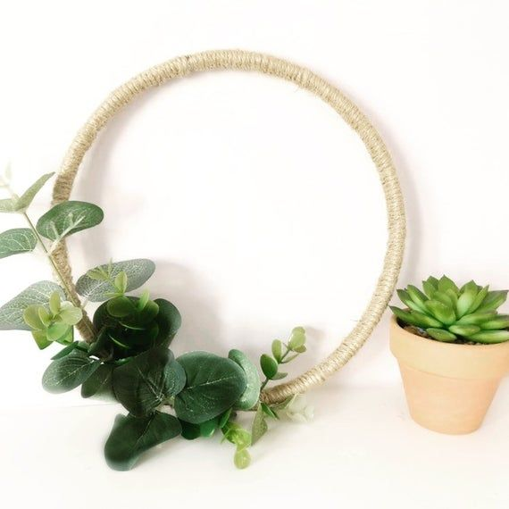 Photo of Leaf wreath / eucalyptus wreath / wedding wreath / leaf wedding / rustic wreath / bench end / wall hanging / flower girl