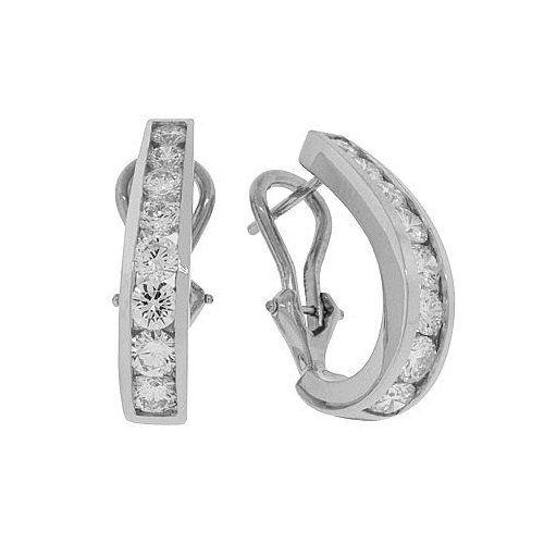 b8cb8834f Diamond Earrings - French Clip Channel Set Diamond Earrings in 18k White  Gold
