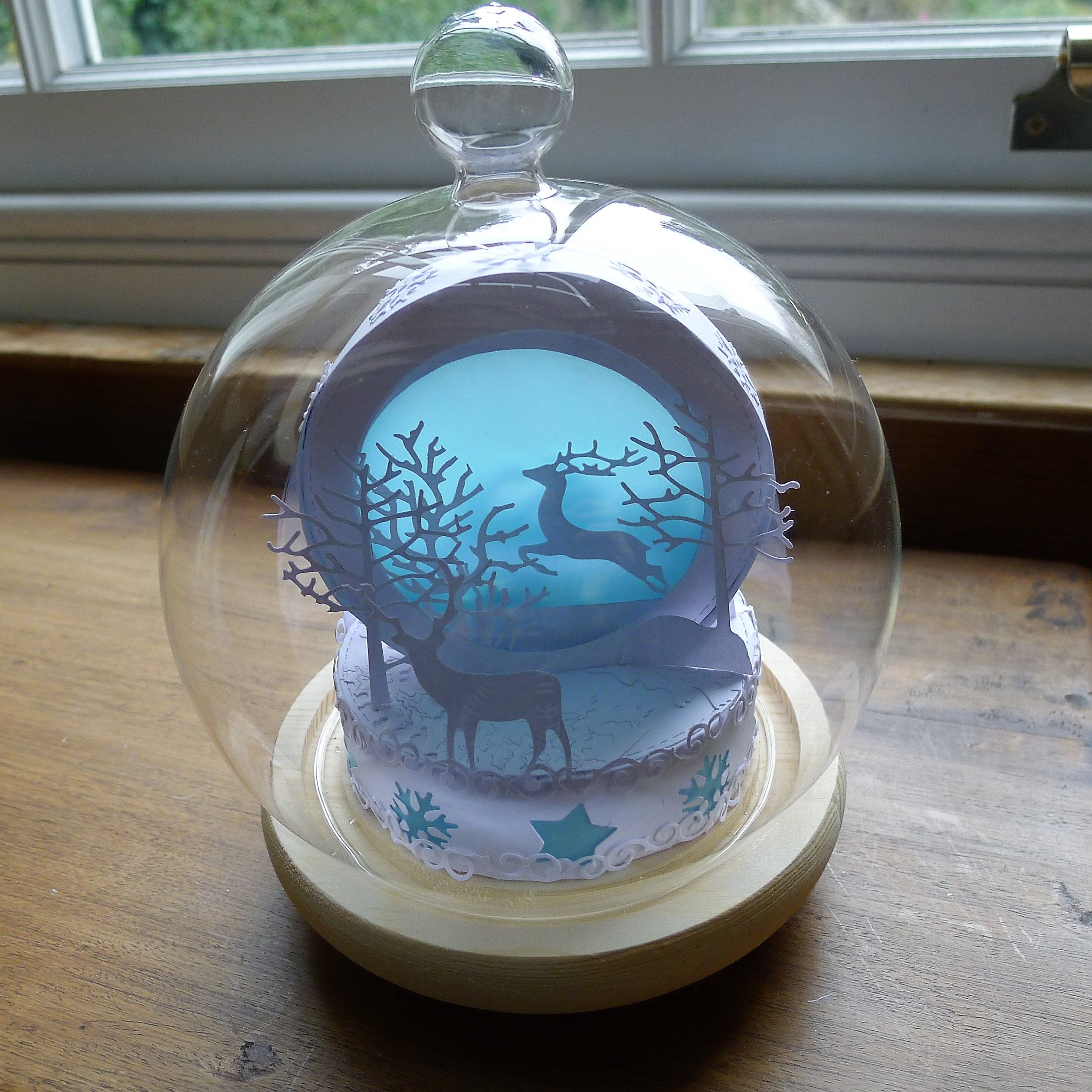 Making a winter moonlight double sided snowglobe using
