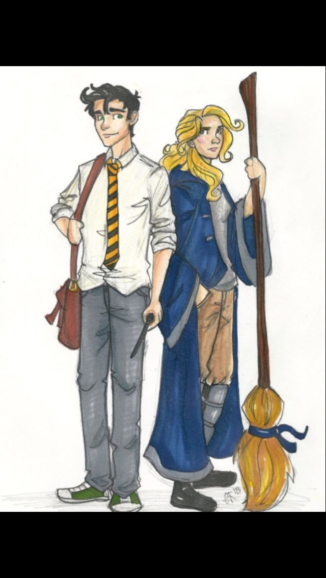 OMG!!! Percy and Annabeth in  Hogwarts uniforms!!!