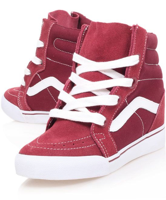37e03ecb8314 Vans Red Sk8-Hi Wedge Trainers