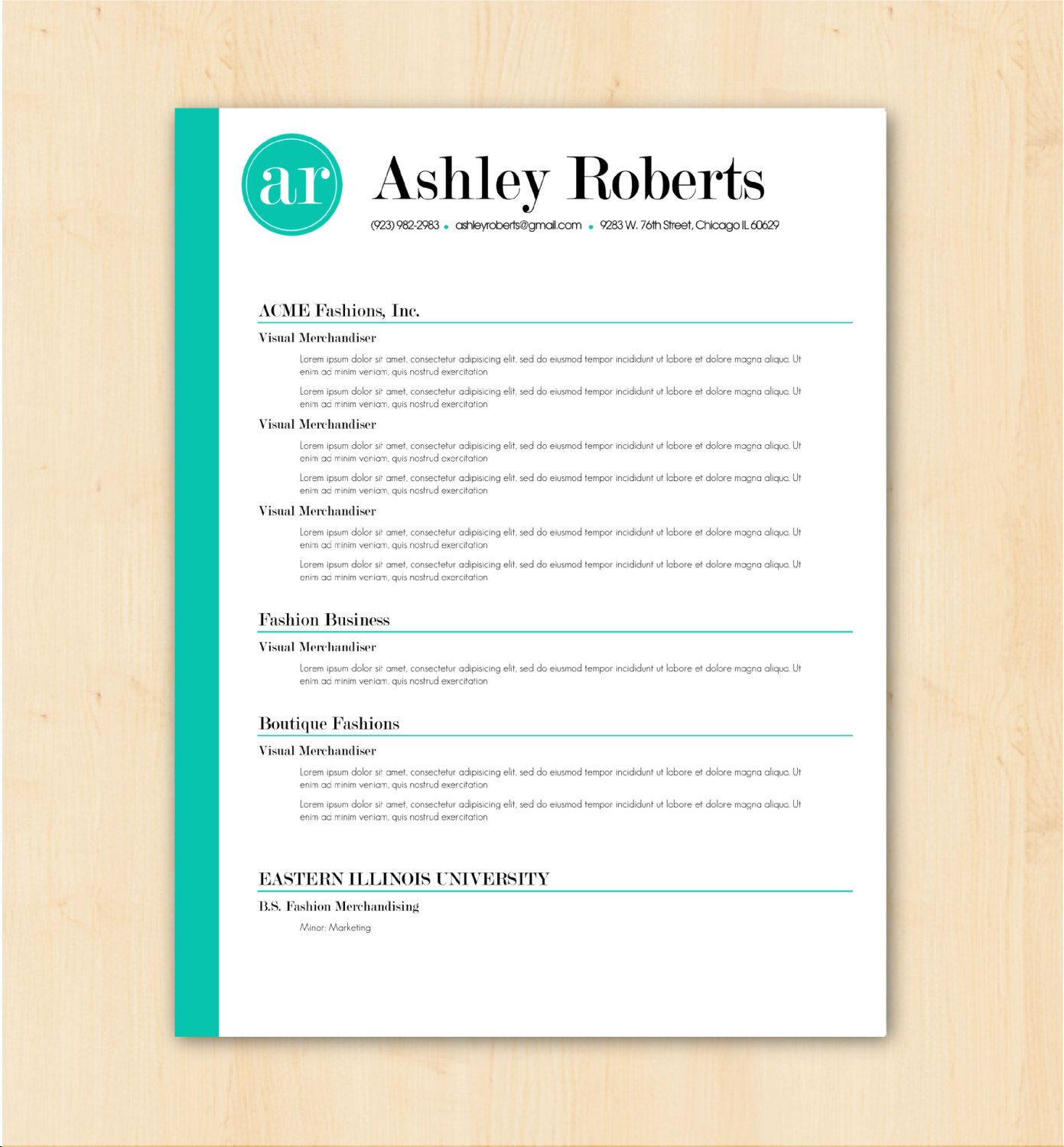 looking for a professional resume template  the ashley roberts design is for you  the bright