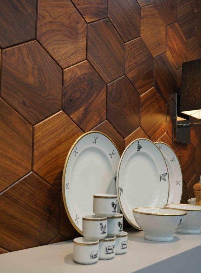 wanddekoration holz sechseck design kueche hexagon teller idee home in 2019 pinterest. Black Bedroom Furniture Sets. Home Design Ideas
