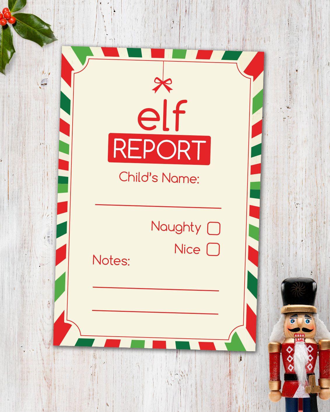 Elf Report Card Digital Printable Etsy Elf Report Card Etsy Printables Elf Printables