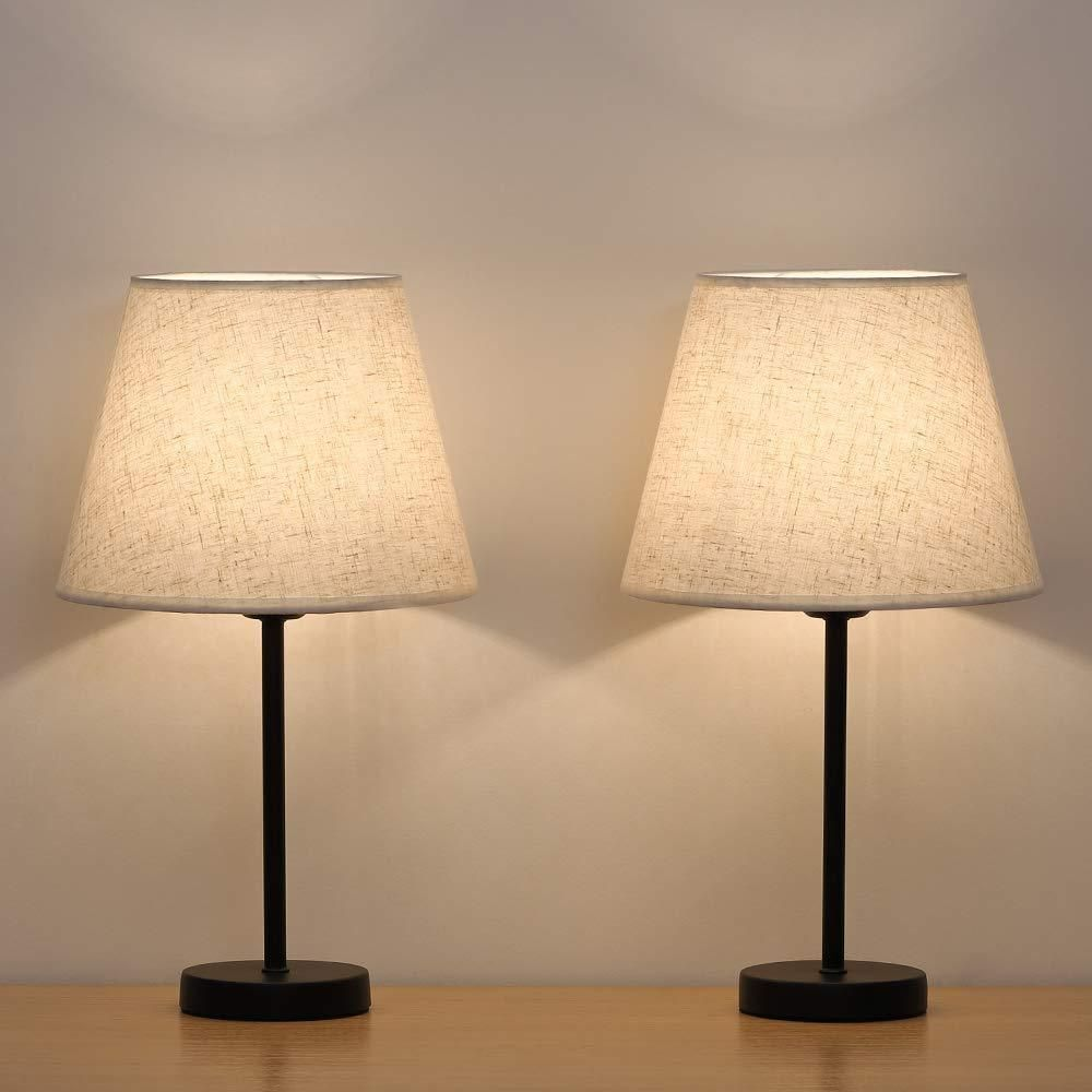 HAITRAL Bedside Table Lamps - Small Nightstand Lamps Set of ...