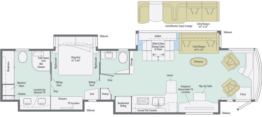 Grand Tour Floorplans Winnebago Rvs Rv Floor Plans Floor