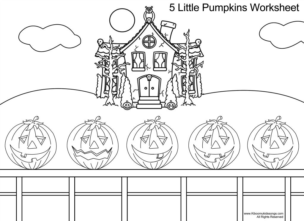 Five Little Pumpkins Song And Coloring Page Jpg 1023 745