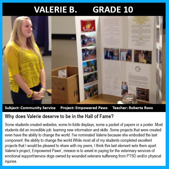 Valerie B., Grade 10 Was Selected For The 2015 JCS Hall Of