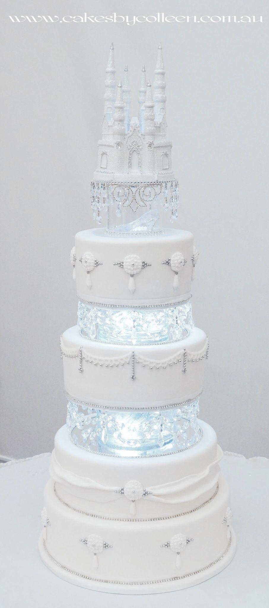 4 Tier Cinderella Themed Wedding Cake Cinderella Castle Slipper