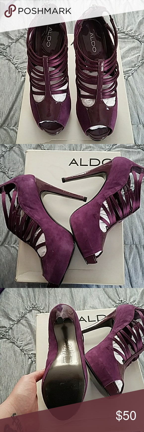 d09ff3ffcc5 Purple strappy booty by aldo Deep purple strappy booty by aldo. 5 inch heel  with