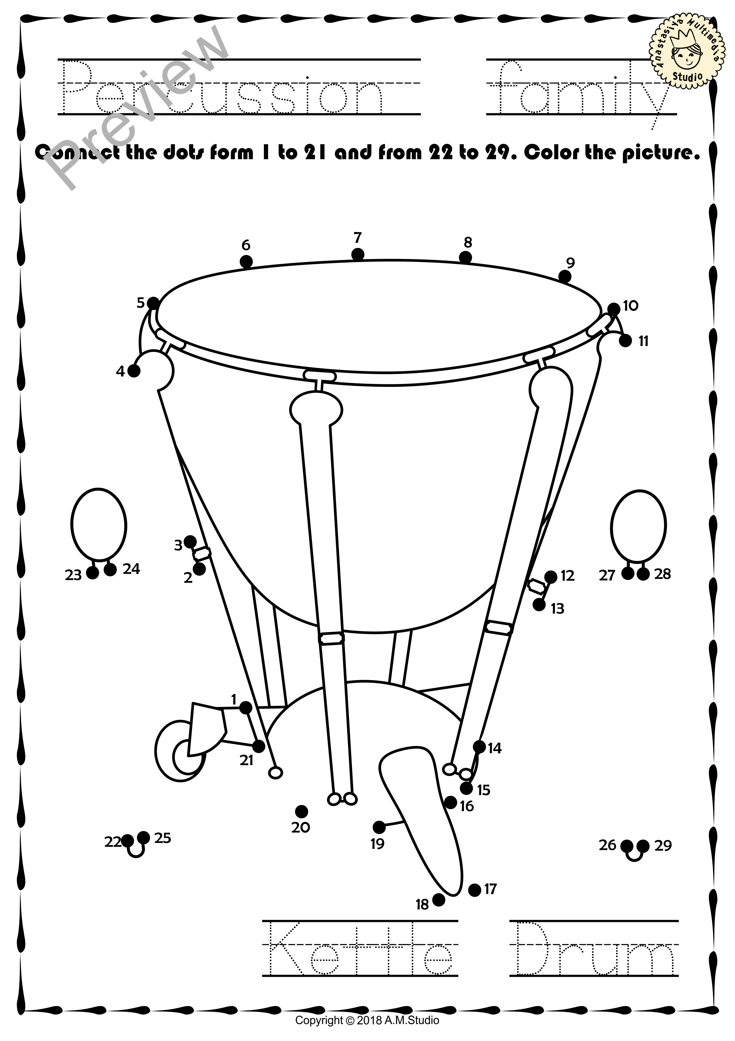 Percussion Instruments Dot To Dot Worksheets