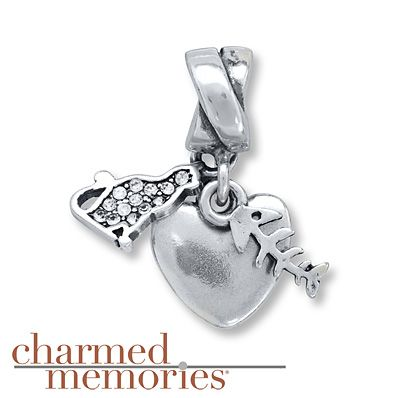 Charmed Memories I Love My Cat Charm Sterling Silver