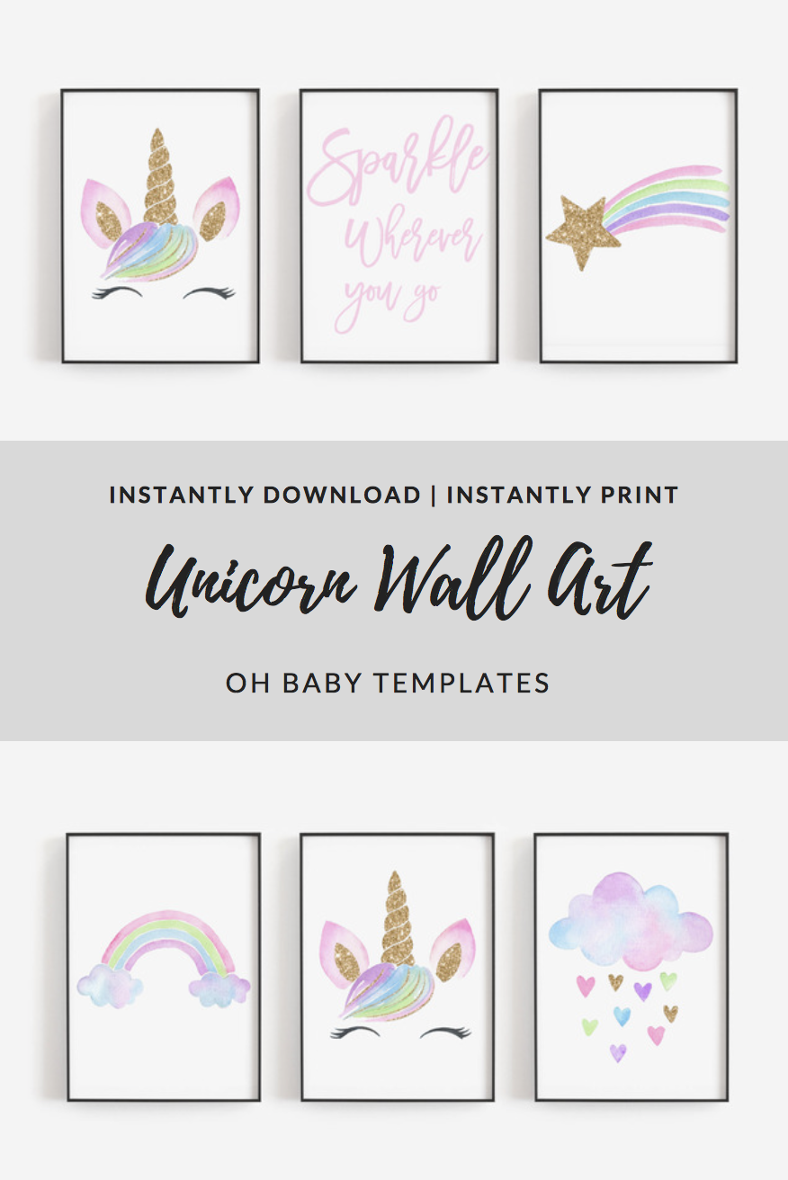 Unicorn Wall Decor Unicorn Quote Unicorn Home Decor Gold Glitter Baby Girl Nursery Unicorn Unicorn Wall Art Playroom Wall Decor Purple Nursery Wall Decor
