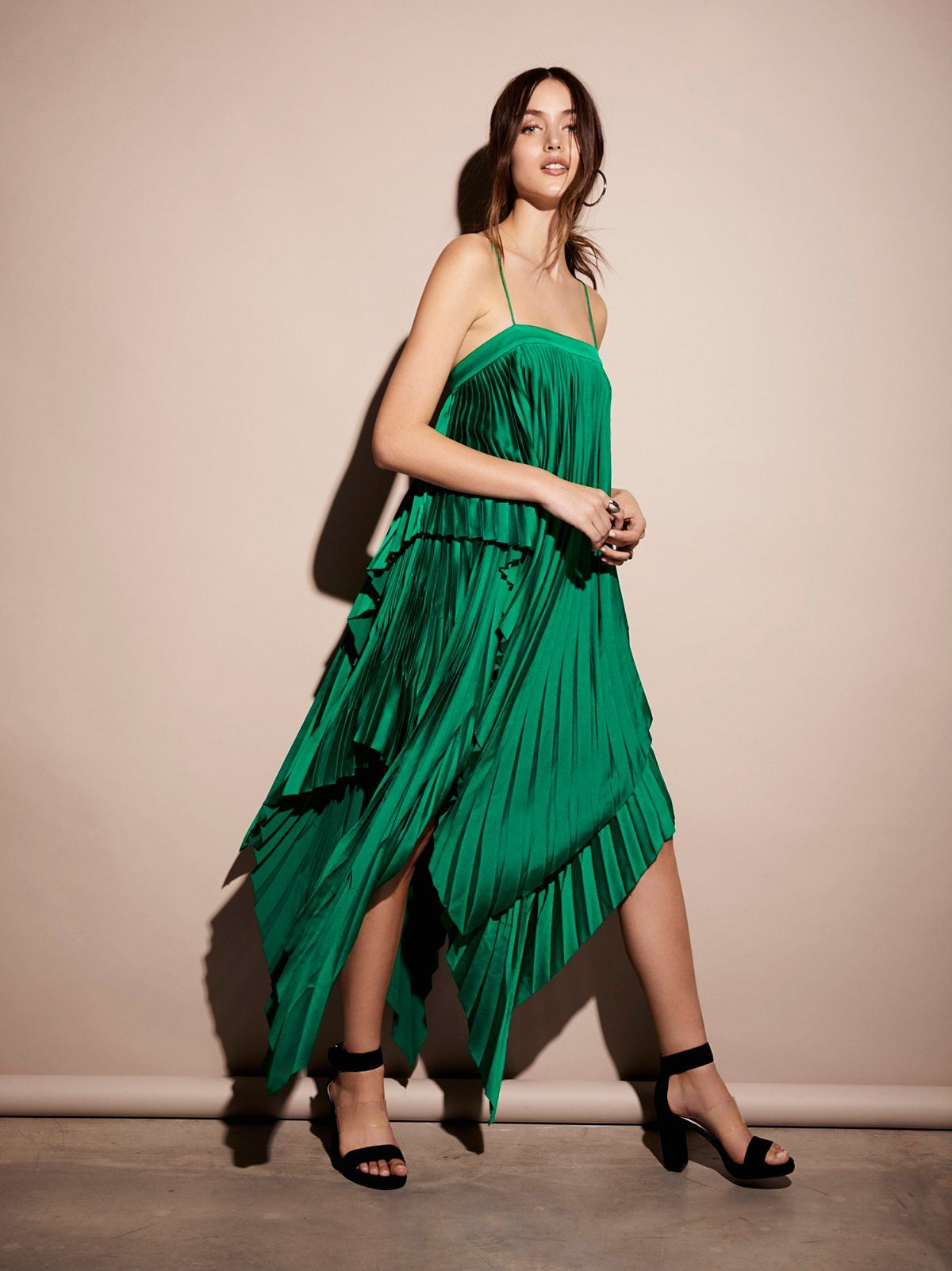 Cedar Pleat Dress | In a luxe satin charmeuse, this pleated dress ...