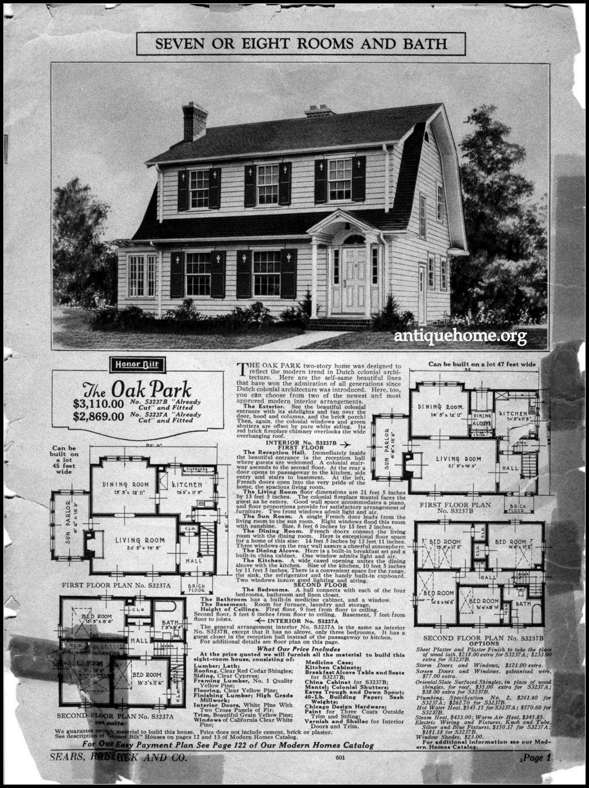 1926 Sears Modern Home The Oak Park Dutch Colonial Homes Vintage House Plans Sears Catalog Homes