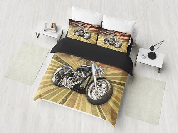Harley Motorcycle Bedding Set American Chopper Duvet Cover Etsy Vintage Bed Full Duvet Cover Bedding Set