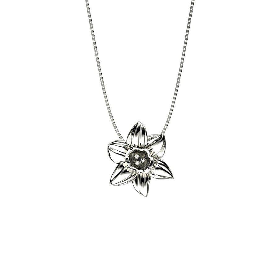 Silver Gold Vermeil Narcissus Pendant Necklace Silvernecklace