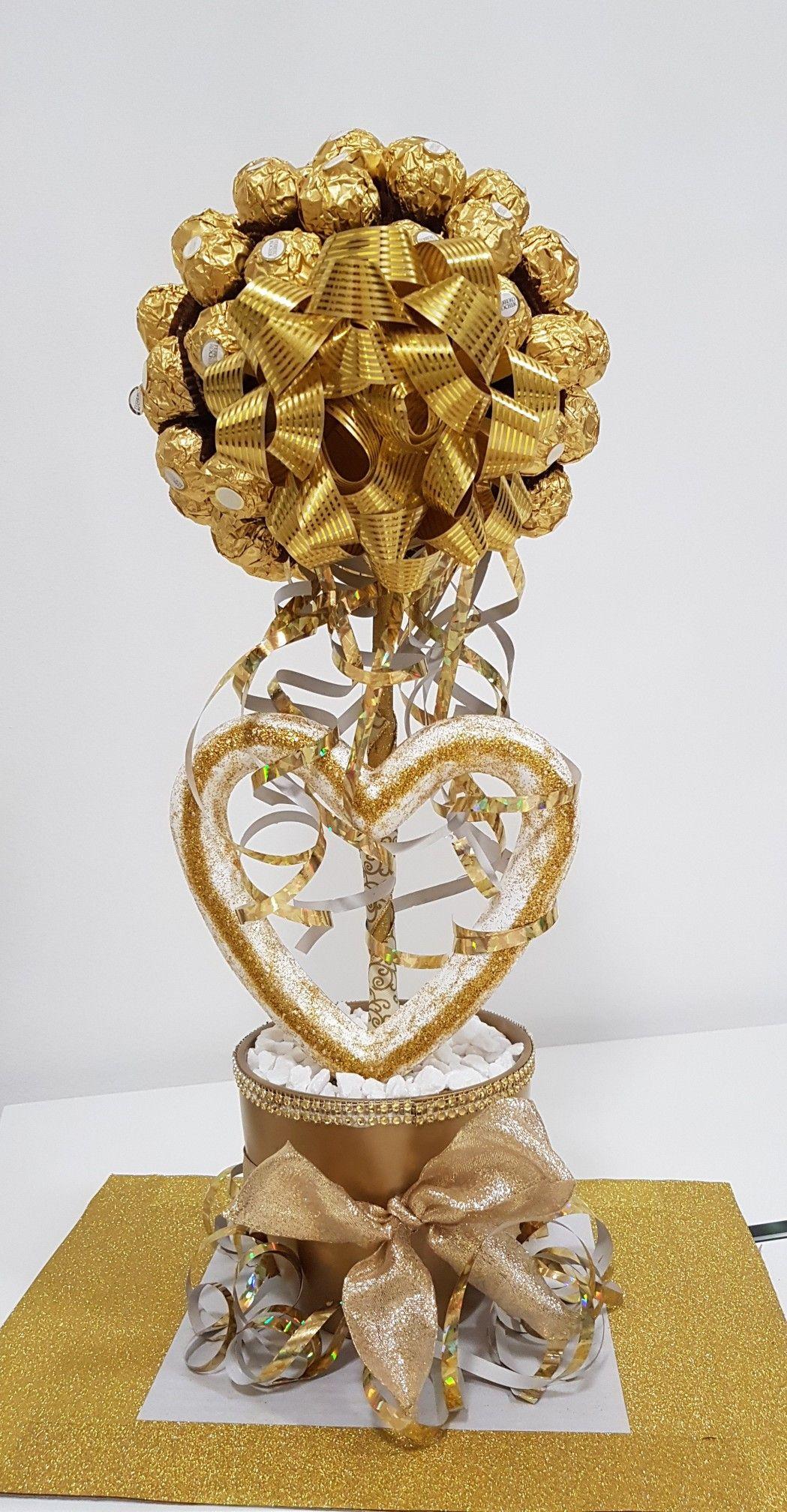 Selbstgemachter Ferrero Rocher Baum als Geschenk zur Goldenen Hochzeit   Geschenkideen