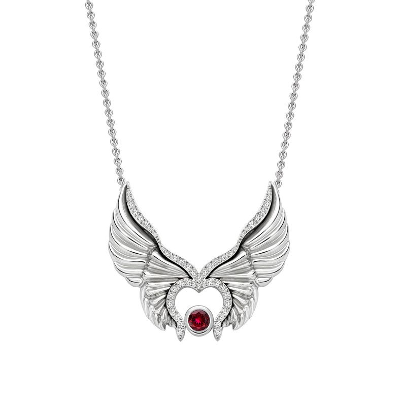 Flutter by Becky Dockree Jewellery    One off commission in platinum finished with diamonds and a centre set ruby.