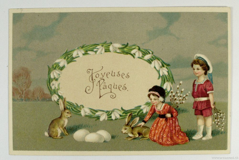 1910 Post Card with Easter Theme ~ origin Switzerland