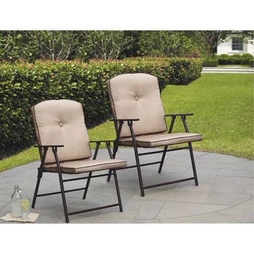 Mainstays Sand Dune Outdoor Padded Folding Chairs Set Of