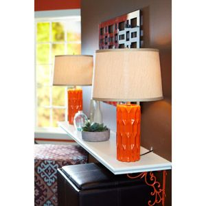 Better Homes and Gardens Table Lamp, Orange Faceted, Set of 2 for $45. wow! In a sea of $150 lamps, these are a find!